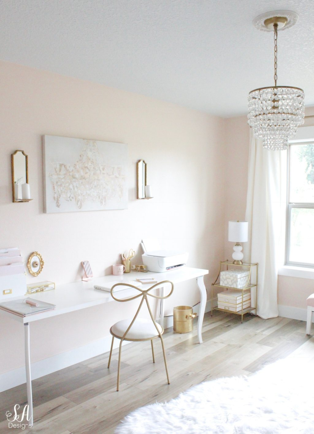 Updated Glam Office Reveal With Blush Pink Walls 21