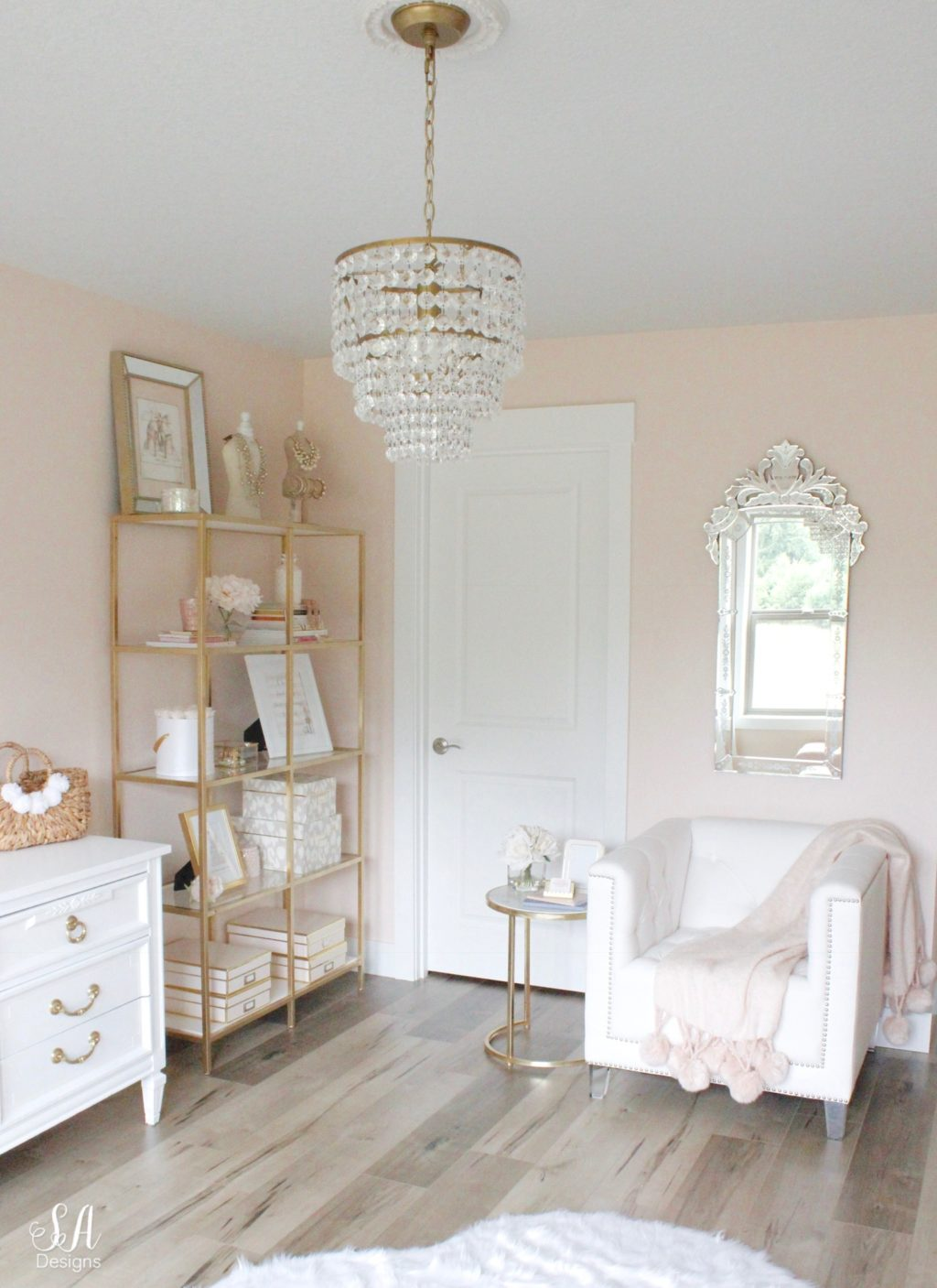 Updated Glam Office Reveal With Blush Pink Walls - Summer Adams