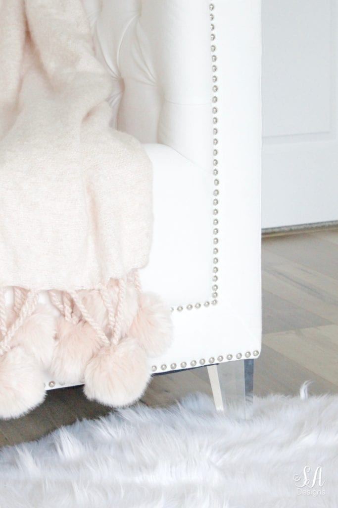 hollywood tufted glam acrylic white club chair, blush pompom throw blanket nordstrom at home