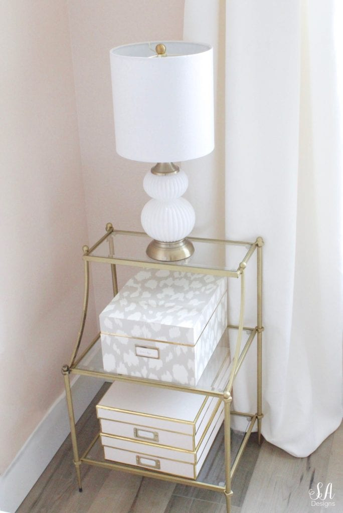 etagere shelves end table, kate spade ikat nesting boxes, gourd lamp white and gold, blush storage boxes, pleated tab ivory white curtains