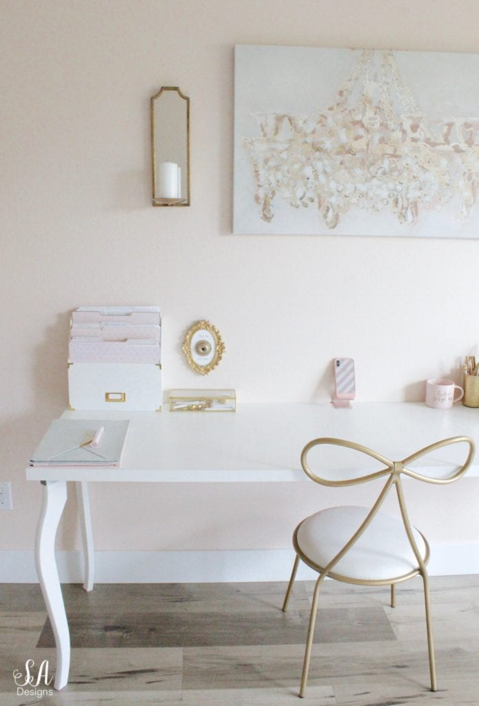 blush and gold office chic glam accessories, press for diet coke button or press for champagne button, bow chair