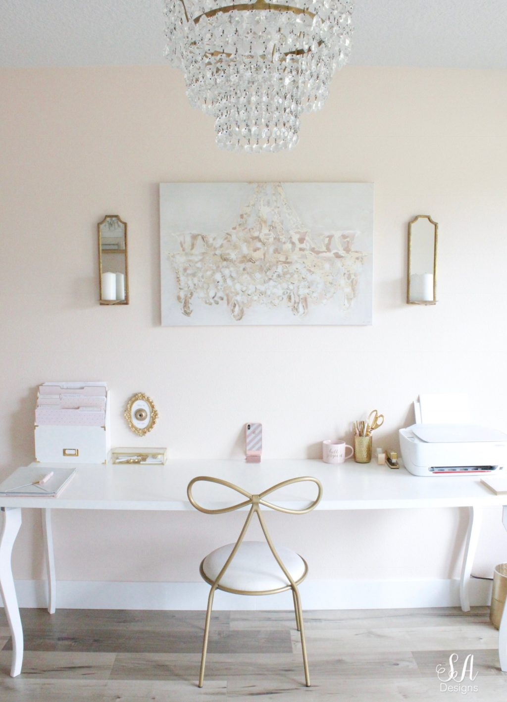 Updated Glam Office Reveal With Blush Pink Walls 7