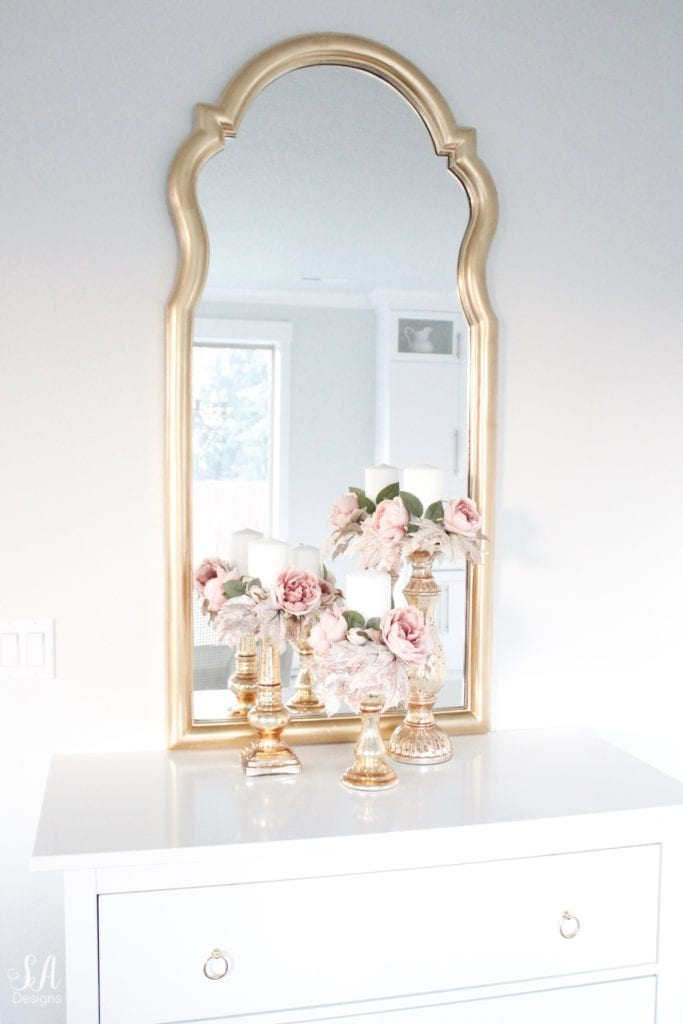 pink fall decor, glam fall decor, diy candle wreaths, diy candle ring, gold mirror, white kitchen