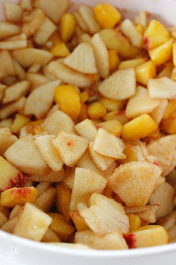 cut up apples and peaches cinnamon and sugar lemon juice
