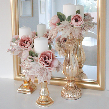 pink fall decor, glam fall decor, romantic fall decor, mercury glass gold candlesticks
