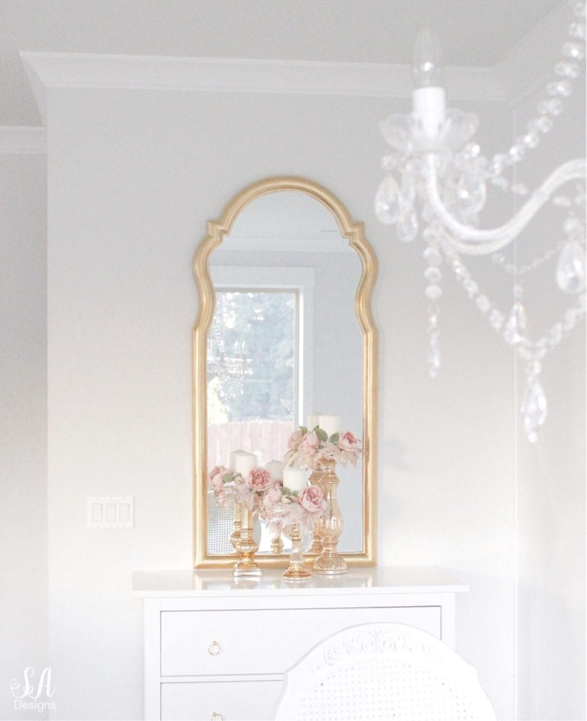 gold arch mirror, white and gold interiors, white and gold decor, glam style decor, bright white homes interiors, dining room buffet and mirror, gold brass mirror