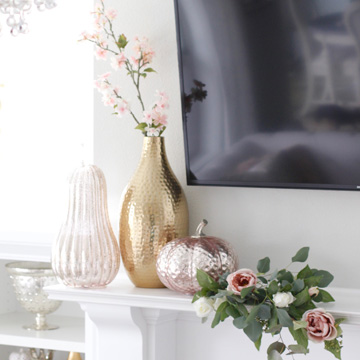 Blush Pink Glam Fall Mantel