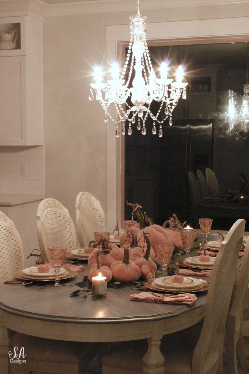Blush Velvet Pumpkins Tablescape For Fall Summer Adams