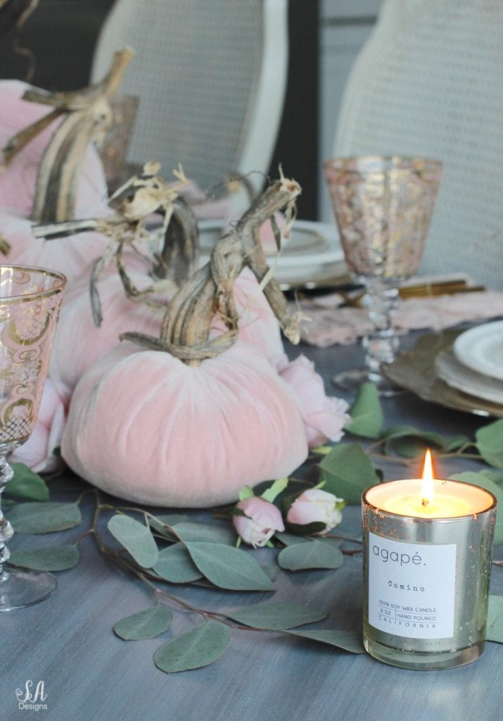 glam pumpkins, velvet pumpkins, blush pink pumpkins, elegant pumpkins, elegant fall decor, pink fall decor, fall decorations, hot skwash pumpkins, patina vie bellisimo goblets, vintage milk glass plates dinnerware, rustic glam tablescape, fall tablescape, white kitchen, pacific northwest interior designer, thanksgiving table, thanksgiving tablescape, girly tablescape, romantic feminine tablescape, rustic glam tablescape, mini velvet pumpkins rhinestones bling, agape candles pumpkin chai camino