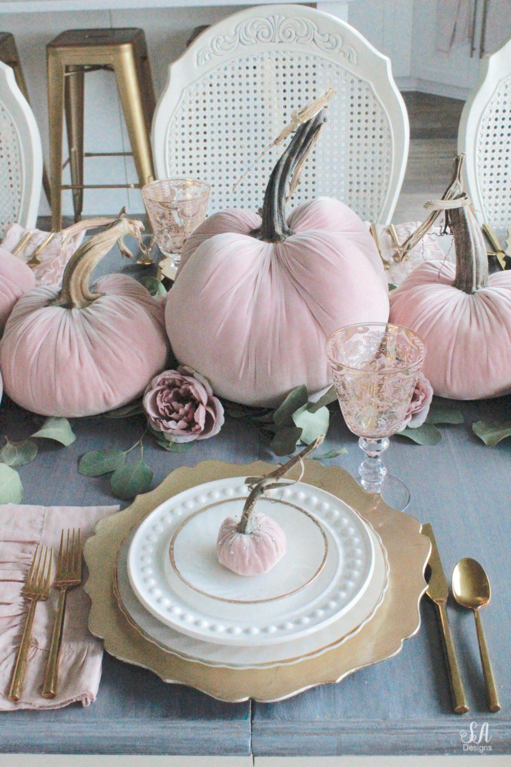 Blush Velvet Pumpkins Tablescape For Fall Summer Adams