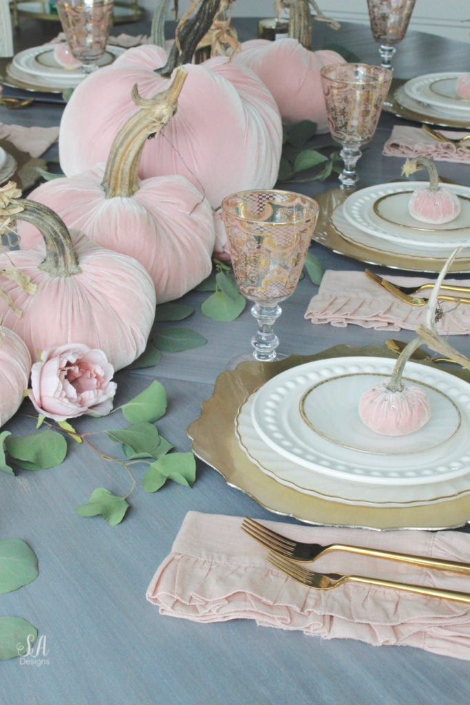 glam pumpkins, velvet pumpkins, blush pink pumpkins, elegant pumpkins, elegant fall decor, pink fall decor, fall decorations, hot skwash pumpkins, patina vie bellisimo goblets, vintage milk glass plates dinnerware, rustic glam tablescape, fall tablescape, white kitchen, pacific northwest interior designer, thanksgiving table, thanksgiving tablescape, girly tablescape, romantic feminine tablescape