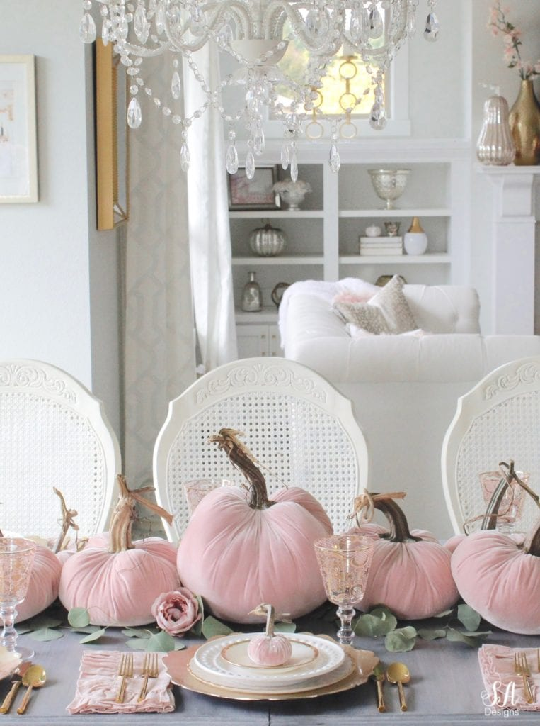 glam pumpkins, velvet pumpkins, blush pink pumpkins, elegant pumpkins, elegant fall decor, pink fall decor, fall decorations, hot skwash pumpkins, patina vie bellisimo goblets, vintage milk glass plates dinnerware, rustic glam tablescape, fall tablescape, white kitchen, pacific northwest interior designer, thanksgiving table, thanksgiving tablescape, girly tablescape, romantic feminine tablescape, rustic glam tablescape, mini velvet pumpkins rhinestones bling