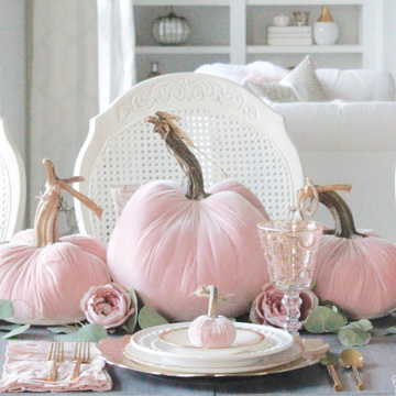 Blush Velvet Pumpkins Tablescape For Fall