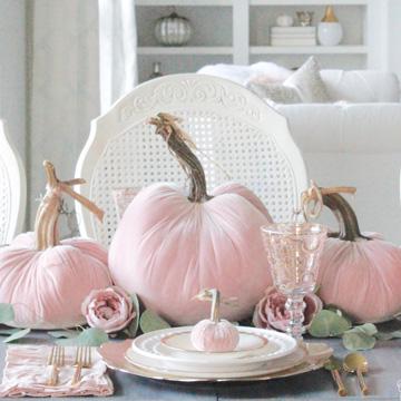 Blush Velvet Pumpkins Tablescape For Fall