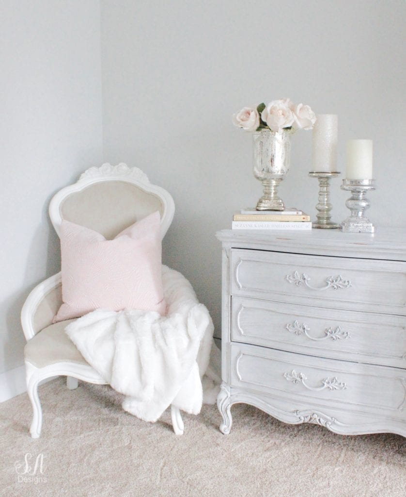 french country cottage book by courtney allison, french vintage book, blush tones, french inspired bedroom, styling with books, romantic homes, vintage chair, mercury glass candle sticks holders, french provincial dresser, styling with books