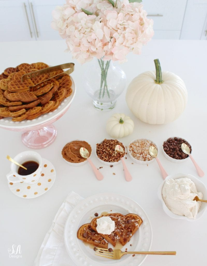 pink kitchen accessories, white kitchen, white shaker cabinets, pink williams-sonoma melamine mixing bowls, pink mixing bowls, white kitchen, pumpkin spice waffles recipe, heart-shaped waffles, heart-shaped waffle maker