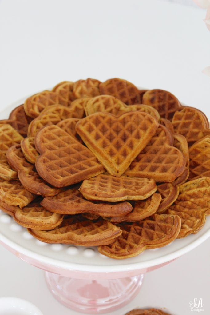 pink kitchen accessories, white kitchen, white shaker cabinets, pink williams-sonoma melamine mixing bowls, pink mixing bowls, white kitchen, pumpkin spice waffles recipe, heart-shaped waffles, heart-shaped waffle maker, dessert waffles, waffle sandwiches