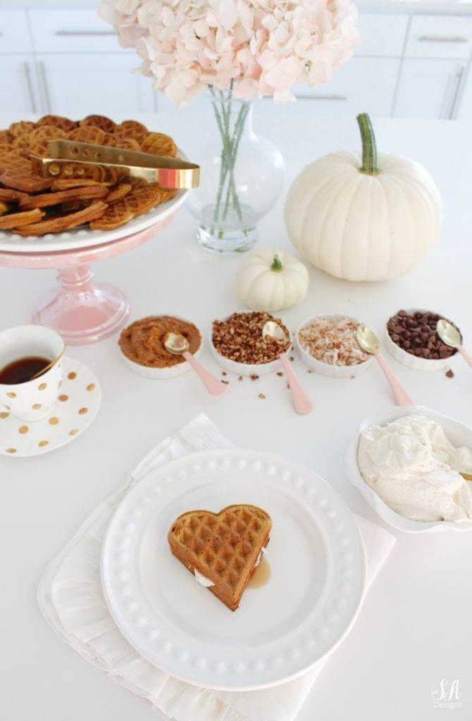 pink kitchen accessories, white kitchen, white shaker cabinets, pink williams-sonoma melamine mixing bowls, pink mixing bowls, white kitchen, pumpkin spice waffles recipe