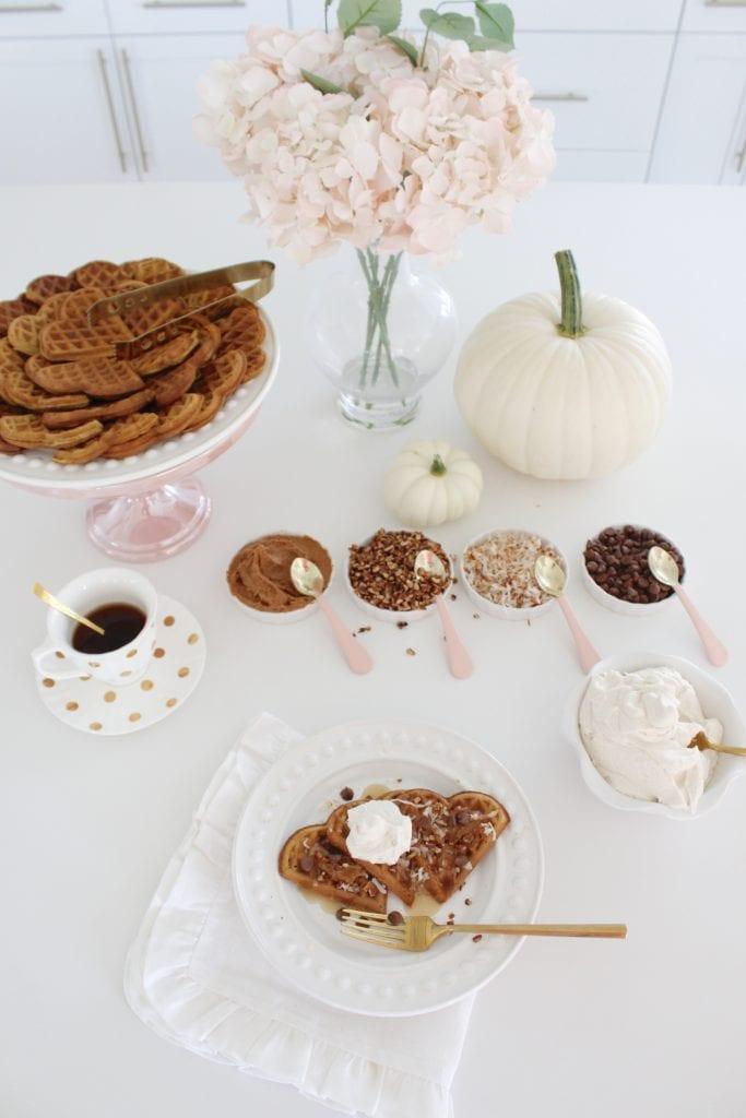 pumpkin waffle recipe, waffle recipe, fall desserts, heart shaped waffles waffle maker, dessert bar, waffle bar, waffle dessert, waffle sandwiches