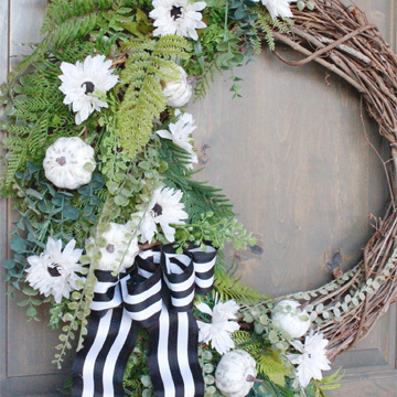 fall wreath, diy fall wreath, mini white pumpkins wreath, craftsman style home front entry