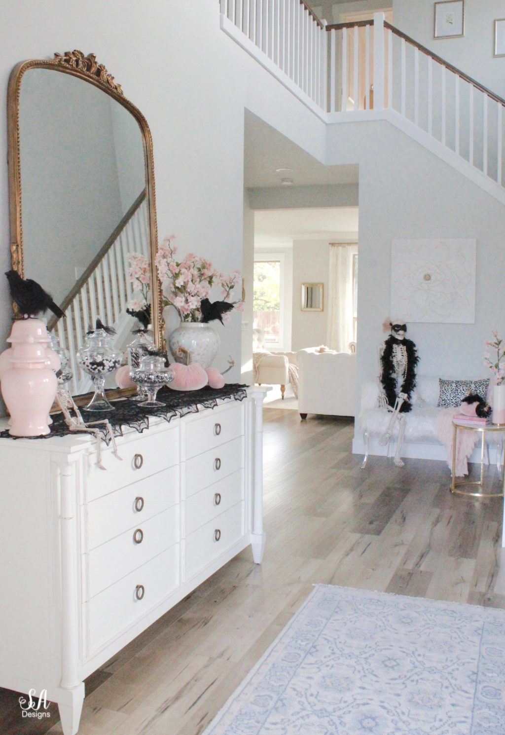 Glam Halloween Entry With Pops Of Pink - Summer Adams on christmas home designs, thanksgiving home designs, theater designs, modern family home designs, house home designs, star wars home designs,