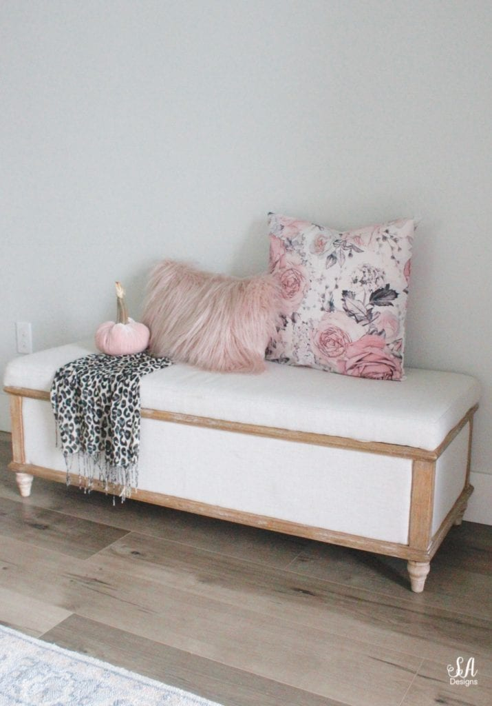 pink gray grey black floral pillow, black grey leopard print scarf, blush pink faux fur pillow, anthropologie primrose mirror, white interiors, entry decor, entry design, 2 story entry, halloween decor, black and white halloween decor decorations, pink halloween, chic halloween, glam halloween, elegant halloween, blush pink halloween decor, velvet pumpkins, pink temple jars, pink ginger jars, blush ginger jars, spider web table runner tablecloth, crystal shell oyster ginger jar, cherry blossom stems, black ravens crows, apothecary jars with candy, faux fur white settee lucite acrylic legs, blush pink ruffle throw blanket, black and white leopard pillow, west elm gold brass marble side table, georgianna lane books, black grey leopard print velvet hot skwash pumpkins, georgianna lane book dahlias vintage roses, christopher mcknight storage bench