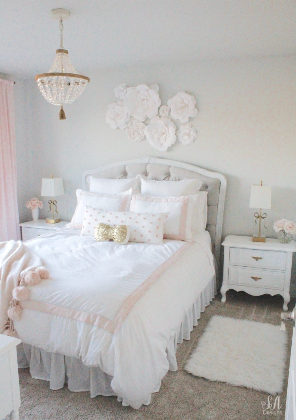 Tween Girl S Bedroom In Blush Gold Grey Summer Adams
