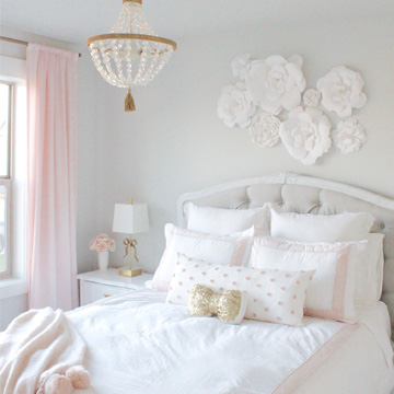Tween Girl's Bedroom in Blush Gold & Grey
