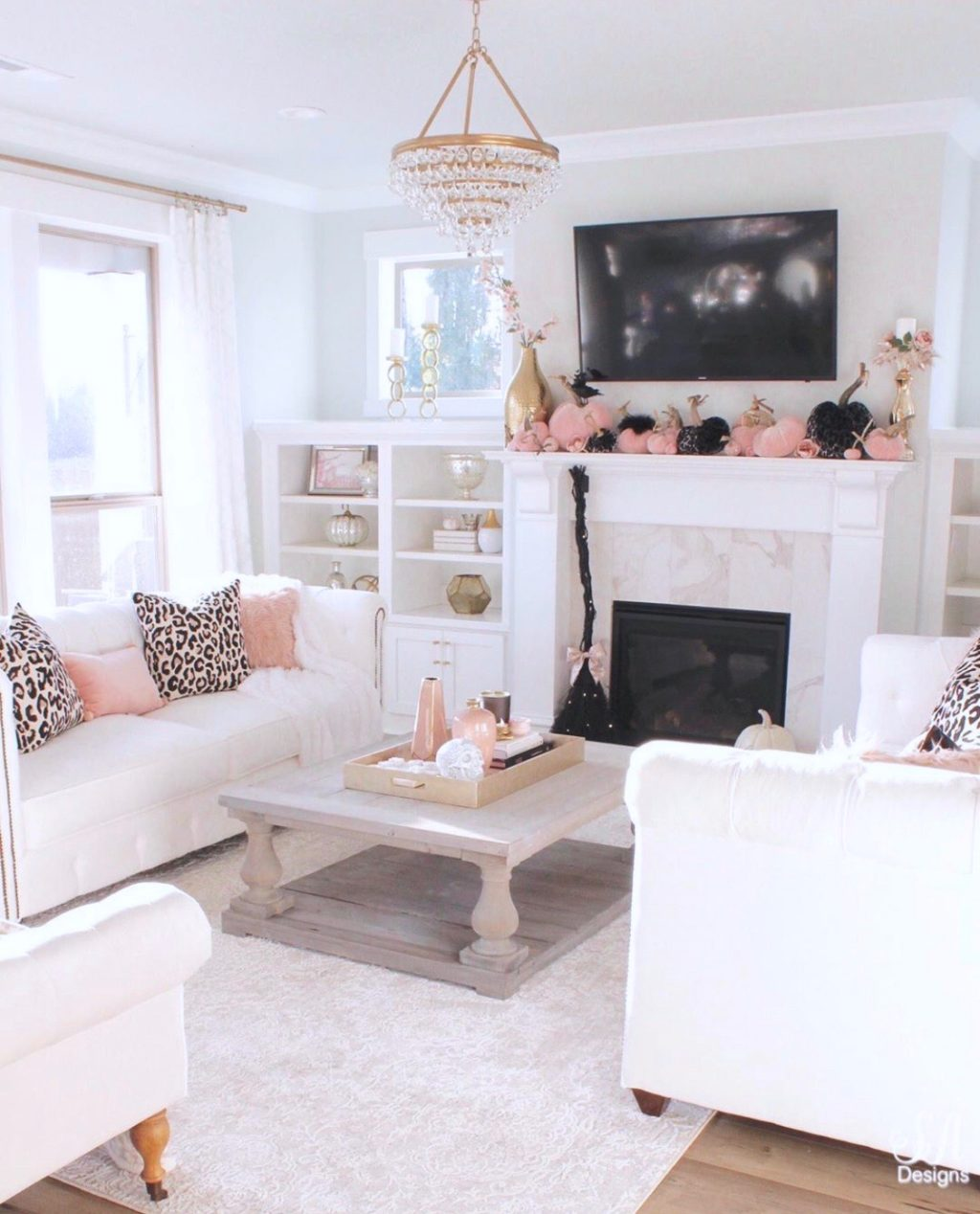 Blush Pink Amp Black Halloween Table Kitchen Amp Living Room