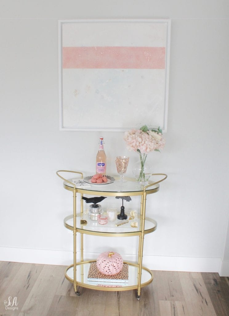 halloween brass bar cart pink and black, glam bar cart