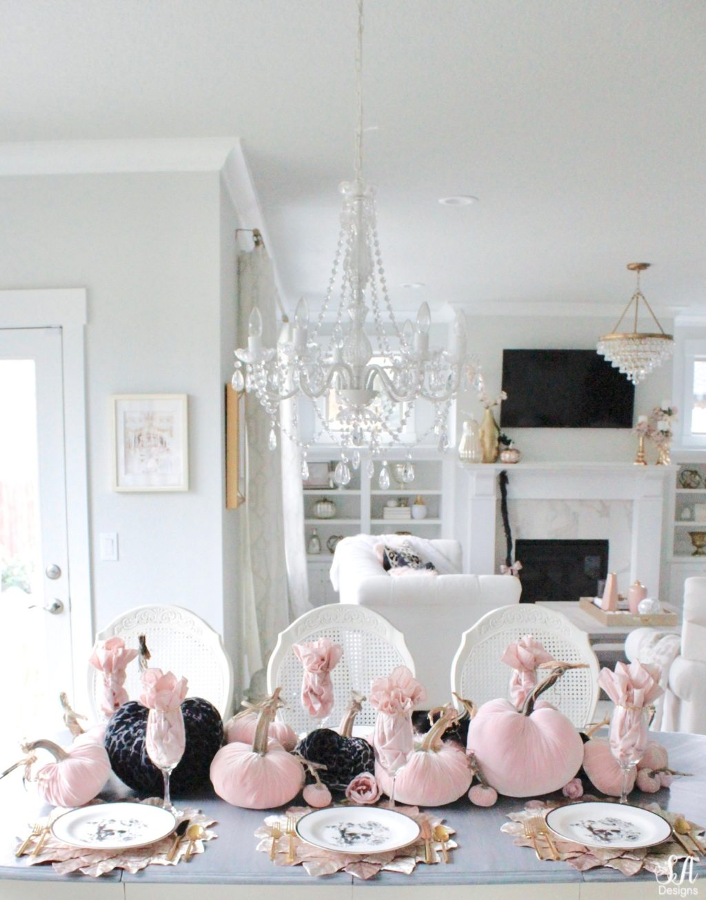 Blush Pink Black Table, Black And Pink Living Room