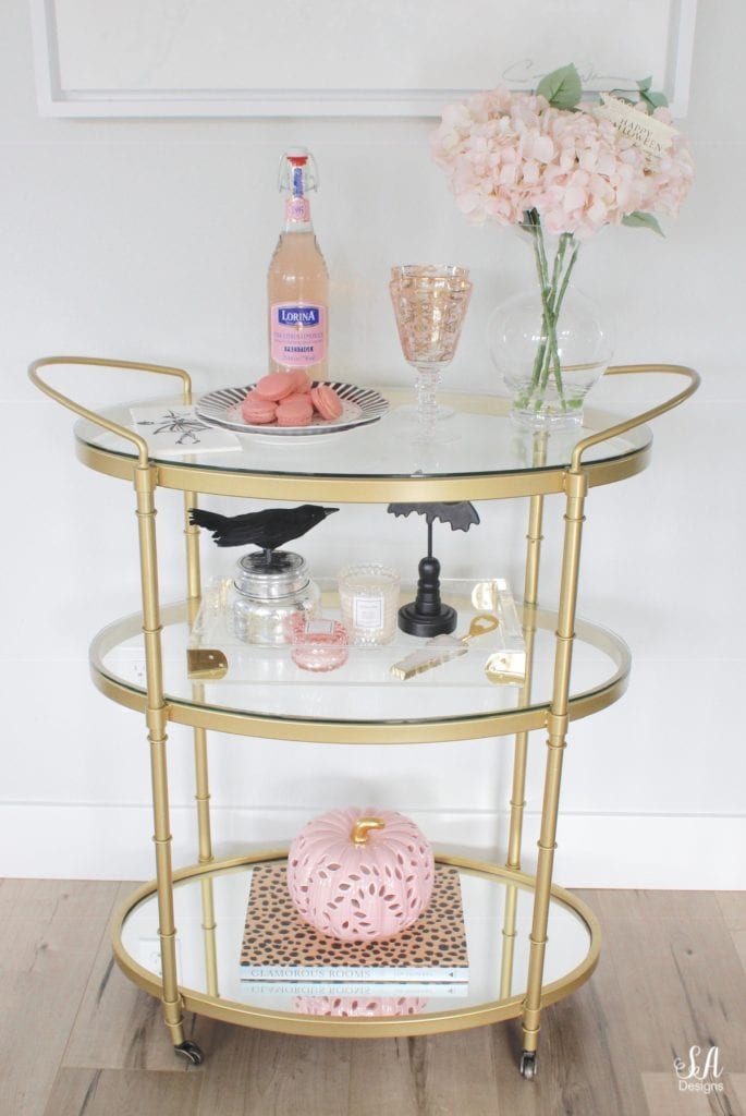 halloween bar cart brass, pink pumpkin