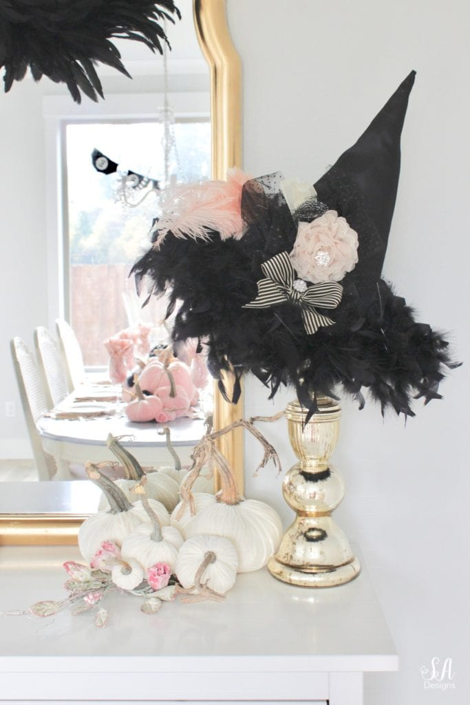 witch hat on mercury glass candlestick, velvet pumpkins
