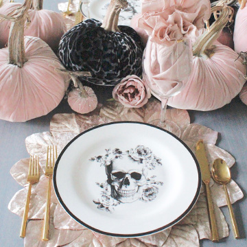 Blush Pink & Black Halloween Table, Kitchen, & Living Room