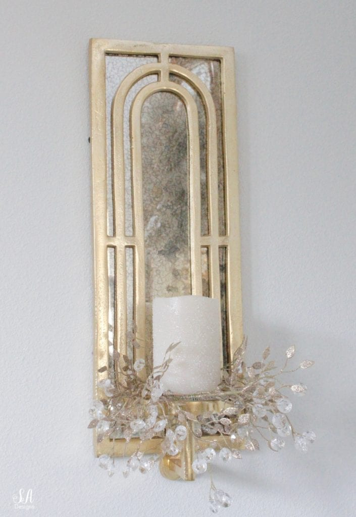gold brass mirrored wall sconce with candles, diy glitter jeweled christmas candle wreath rings
