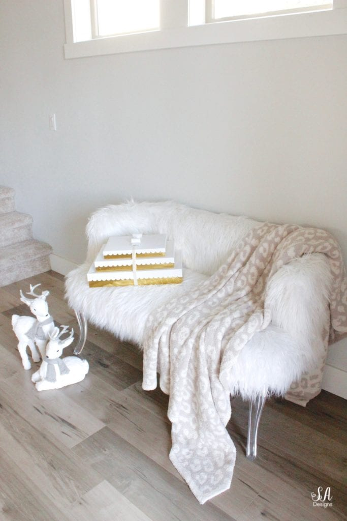 faux fur settee bench lucite acrylic legs, white deer figurines christmas decor pier one, sugar paper gift boxes for target, barefoot dreams beige ivory leopard throw blanket