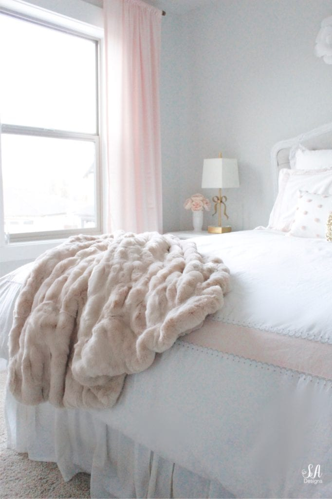 pottery barn blush faux fur rouched throw blanket, girls bedroom ideas, blush gold gray bedroom, tween girls bedroom, pottery barn kids bedding
