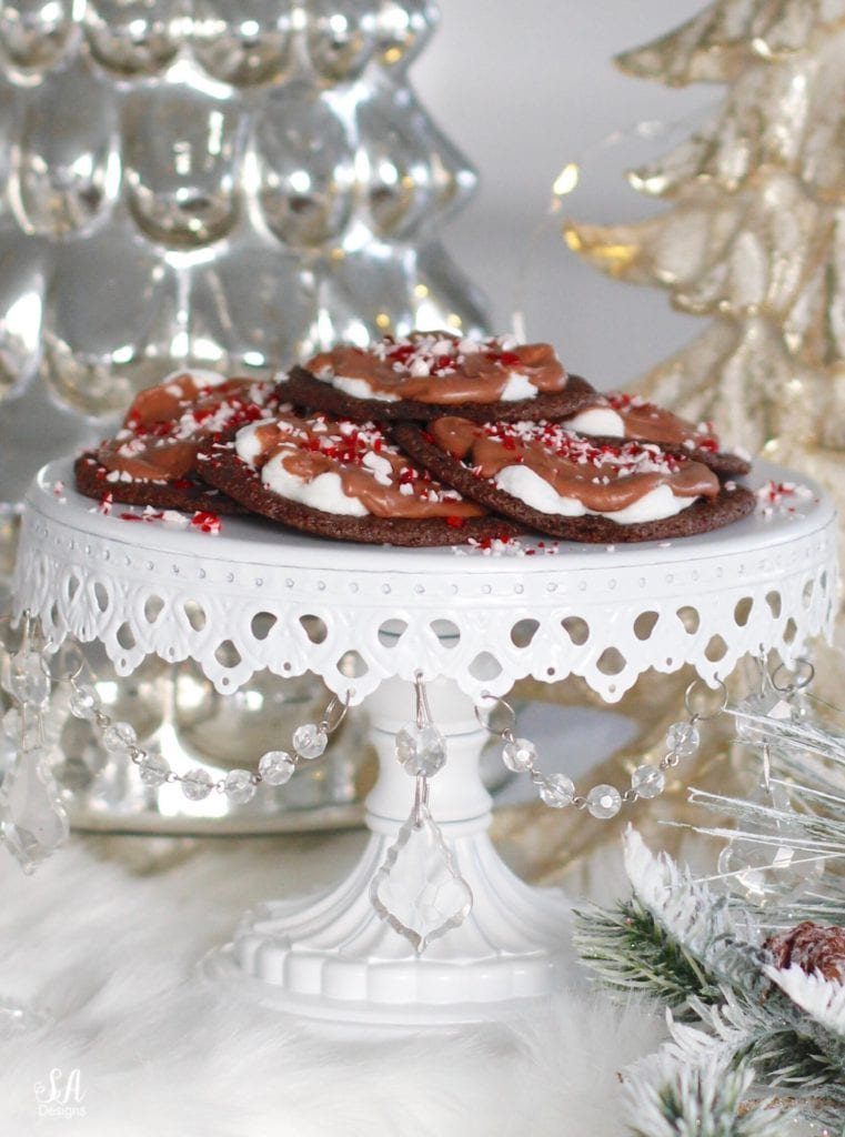 christmas cookie recipe, chocolate cookie marshmallows peppermint candy cane, cookie exchange party, chandelier cake stand, mercury glass christmas tree pottery barn, twinkle lights, faux fur table runner