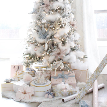 Whimsical Glam Christmas Living Room In Pastels