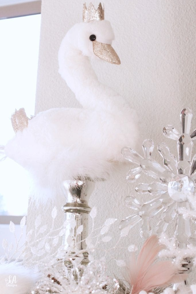 christmas swan figurines, swan lake nutcracker christmas