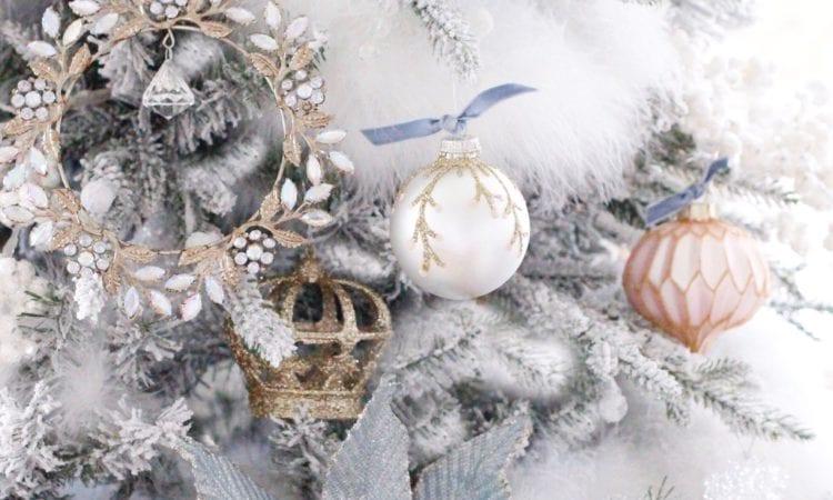diy glitter ornament velvet ribbon dusty blue and blush pink