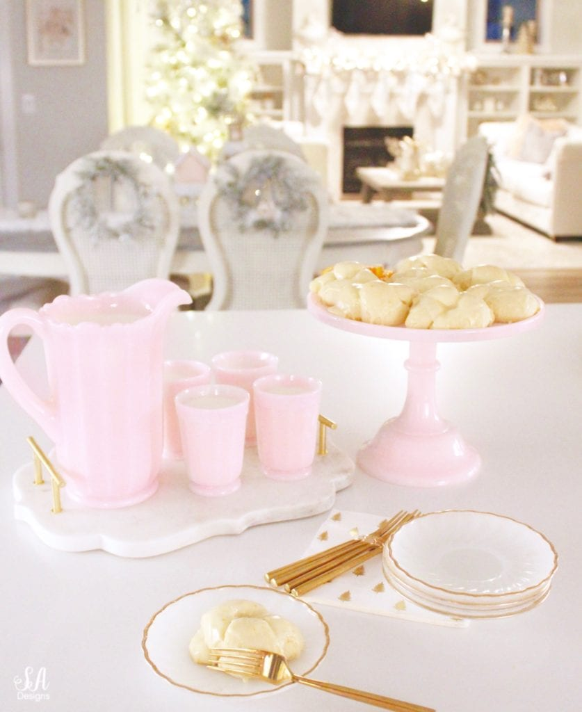 pink milk glass cake stand, pink milk glass pitcher, pink milk glass cups, pink milk glass sur la table, vintage pink milk glass, one hour roll recipe, orange rolls, christmas recipe, thanksgiving roll recipe, orange dessert, quick rise bread, quick rise rolls