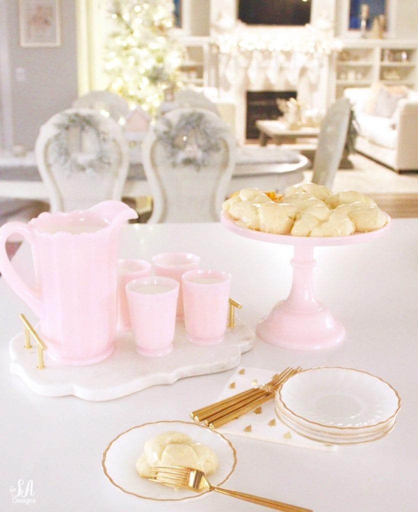 pink milk glass cake stand, pink milk glass pitcher, pink milk glass cups, pink milk glass sur la table, vintage pink milk glass, one hour roll recipe, orange rolls, christmas recipe, thanksgiving roll recipe, orange dessert, quick rise bread, quick rise rolls
