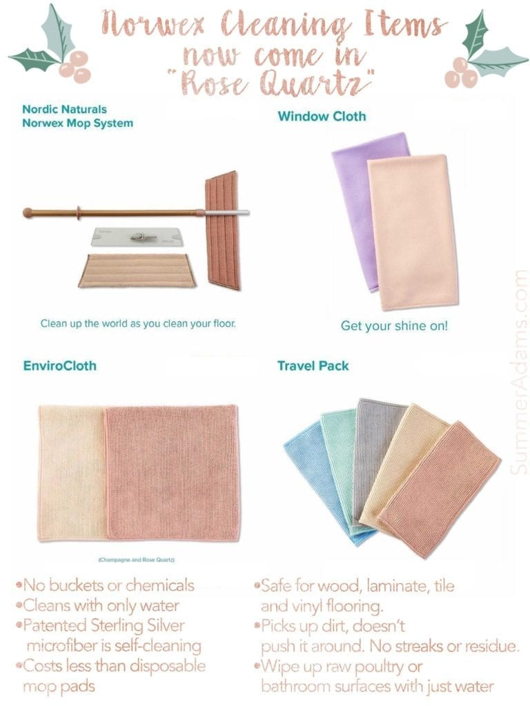Norwex rose quartz blush pink cleaning supplies, new norwex rose quartz, norwex summer adams, microfiber cleaning with just water