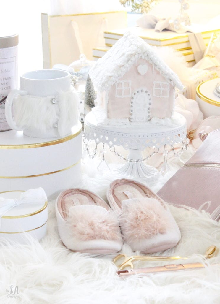 christmas gift guide, gift ideas for her, flocked snow tree, pastel whimsical christmas, gift guide girly girl