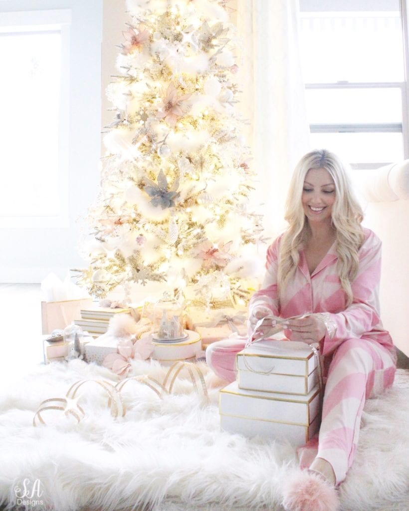 victorias secret pink silk candy cane pajamas set, blonde hair, nbr extensions, gift wrapping, gift boxes sugar paper la, flocked tree