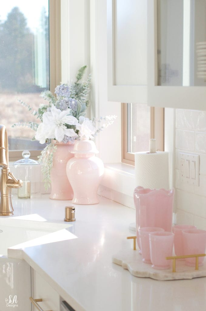 pink ginger jars, pink milkglass cups and pitcher
