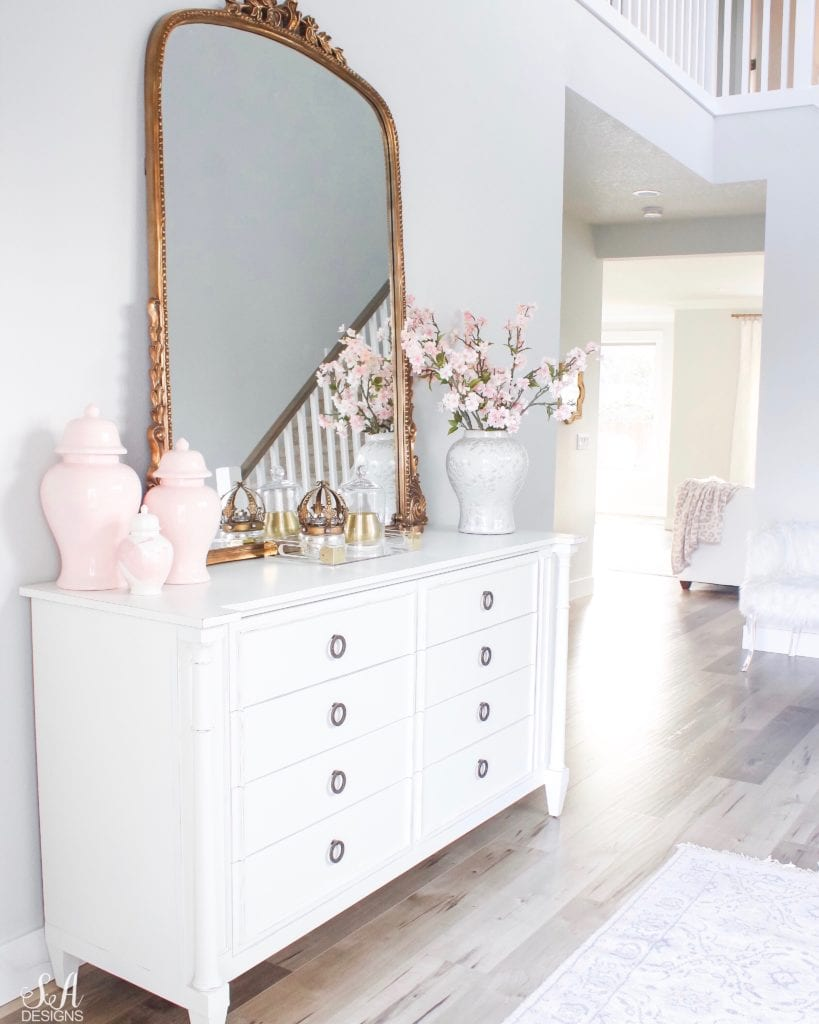White entry, white interior, Anthropologie Gleaming Primrose Mirror, pink ginger jars, tall entry, entry way decor, entry way goals