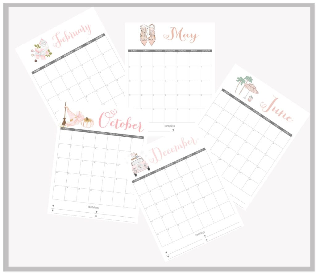 printable monthly calendars free