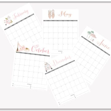 Stylish 2019 Printable Monthly Calendars – Free